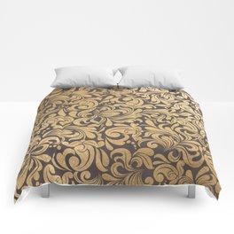 Gold foil swirls damask #11 Comforters