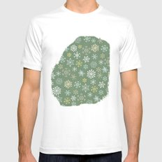 christmas snowy green MEDIUM Mens Fitted Tee White