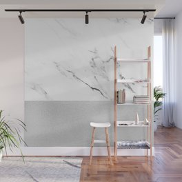 White Marble with Black and Grey Silver Stripe Wall Mural