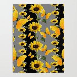 YELLOW BUTTERFLIES & SUNFLOWERS ART PANELS Poster