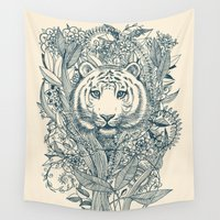 tiger Wall Tapestries featuring Tiger Tangle by micklyn