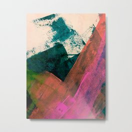 Expand [3]: a colorful, minimal abstract piece in pinks, green, and blue Metal Print