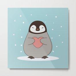 Kawaii Cute Penguin With A Heart Metal Print