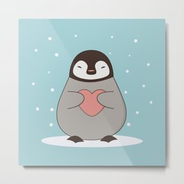 Kawaii Cute Penguin With A Heart Metal Print