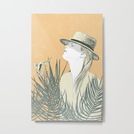 The woman and the bird Metal Print