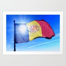 Andorra flag waving on the wind Art Print