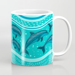 A flock of dolphins in the sea, strips and borders. Marine seamless pattern. Coffee Mug