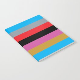 Colorful Stripes Black Pink Blue Gold Gray Red Notebook