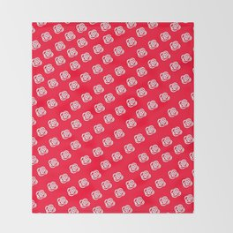 White Rose, Red Background Throw Blanket