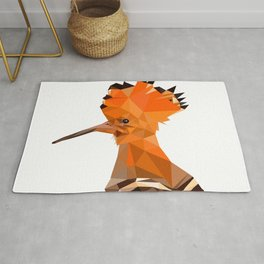 Bird artwork hoopoe geometric, Orange and brown Rug