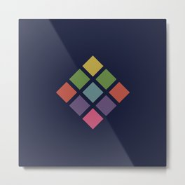 Classic Colorful Abstract Minimal Retro 70s Style Squares Rubik Cube Metal Print
