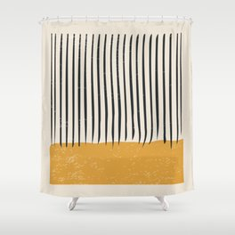 Mid Century Modern Minimalist Rothko Inspired Color Field With Lines Geometric Style Shower Curtain