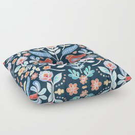 Happy Folk Summer Floral on Navy Floor Pillow