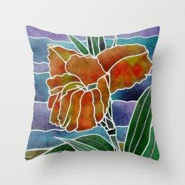 Silk Batik Cannas Art Throw Pillow