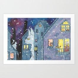 cat on night Art Print
