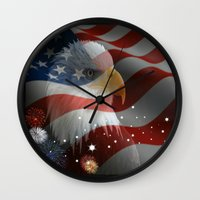 patriotic Wall Clocks featuring Patriotic America by Barrier Style & Design