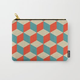 cube pattern blue orange cream Carry-All Pouch