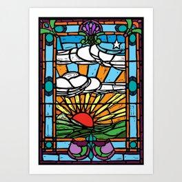 Sunrise Stained Glass Window Art Print