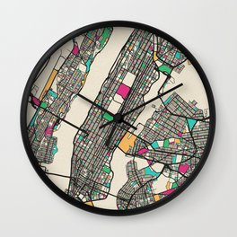 Colorful City Maps: Manhattan, New York Wall Clock