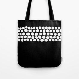 Soft White Pearls on Black Tote Bag