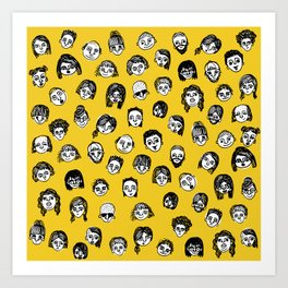 So Many People (Yellow) Pattern Print Art Print