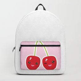 Kawaii red cherry on pink background Backpack