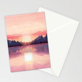 Morning Sunshine over the Peaceful Mountain Lake Stationery Cards