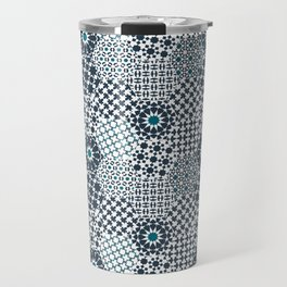Spanish Tiles of the Alhambra - Gray & dark Aquamarine Travel Mug