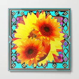 MODERN WESTERN TURQUOISE  YELLOW SUNFLOWER  ART Metal Print