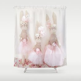 Bunnies Pretty in Pink Shower Curtain