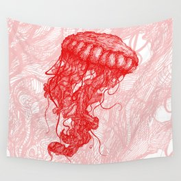 Jellyfish (Red on White Variant) Wall Tapestry