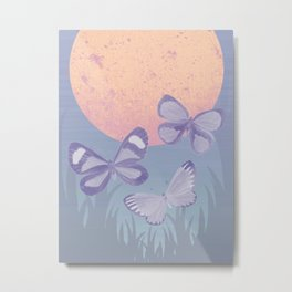 Moonrise Meadow Butterflies Metal Print