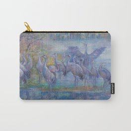Wilde Birds in the forest lake Foggy morning Wildlife scene Autumn landscape pastel painting Carry-All Pouch