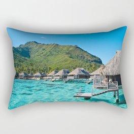 Tropical Island Beach Bungalows Rectangular Pillow