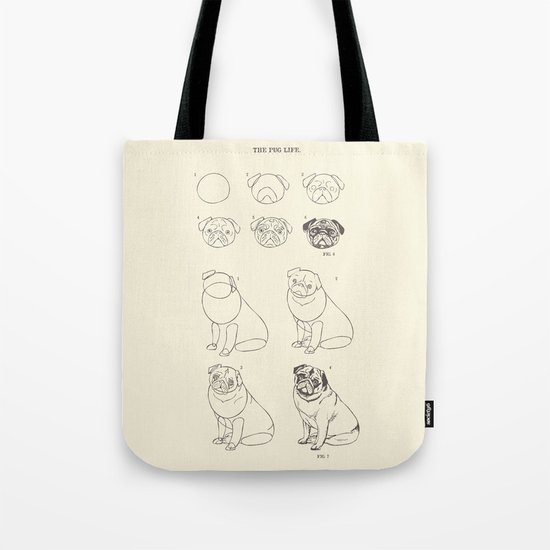 How to Draw The Pug Life  Tote Bag