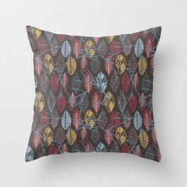 Autumn pink blue brown hand painted leaves Throw Pillow