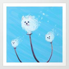 Pomeranian Dandelions Art Print