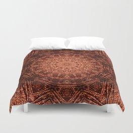 Knit pattern kaleidoscope copper Duvet Cover