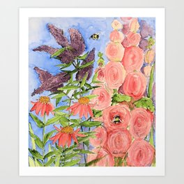 Cottage Garden Butterfly Bush Watercolor Illustration Art Print