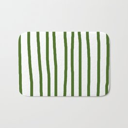 Simply Drawn Vertical Stripes in Jungle Green Bath Mat