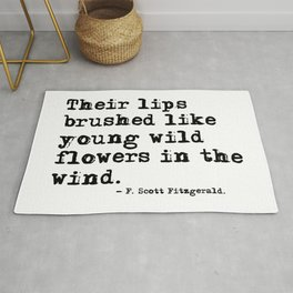 Their lips brushed - F Scott Fitzgerald quote Rug