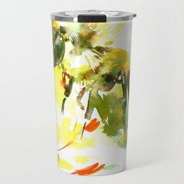 Honey Bee and Yellow Abstrac floral decor Travel Mug