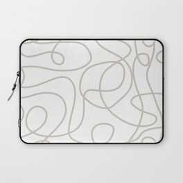 Doodle Line Art | Warm Gray/Beige Lines on White Background Laptop Sleeve