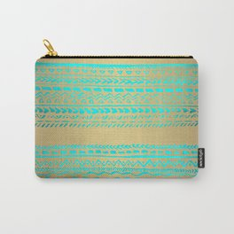 Aqua Blue Green Tribal Pattern on Gold Background Carry-All Pouch