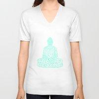 hologram V-neck T-shirts featuring Triangular Traced Buddha by Makar Deku