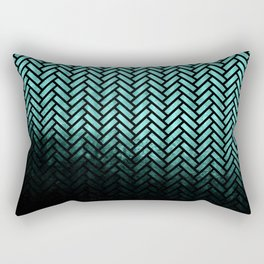 Textured teal and black Herringbone ombre - Japanese pattern Rectangular Pillow