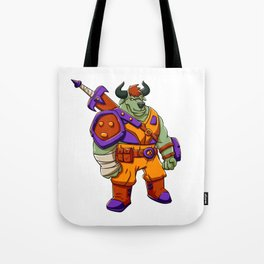 Bull warrior cartoon illustration Tote Bag
