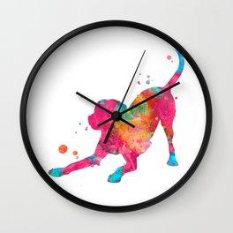 Colorful Playful Labrador Wall Clock