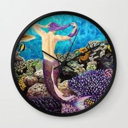 Morning Routine - Mermaid seascape Wall Clock