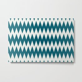 Off White and Tropical Dark Teal Inspired by Sherwin Williams 2020 Trending Color Oceanside SW6496 Zigzag Pointed Rippled Horizontal Line Pattern Metal Print